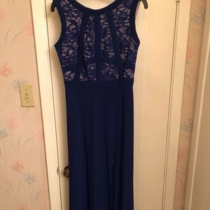 Women's Navy Gown with glittered lace bodice!